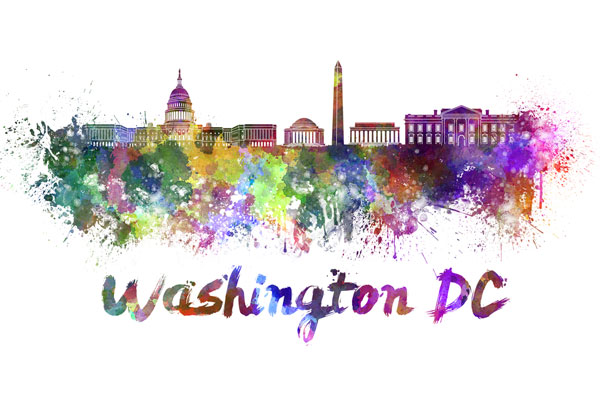 Washington, DC skyline - watercolor painting